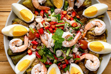 YUM , Spicy Thai Food, Salad,Eggplant Salad, Fresh Shrimp, Boiled Egg,Original Thai Food, Spicy Grilled Eggplants Salad With Boiled Egg And Shrimp In A Banana Leaf Plate.