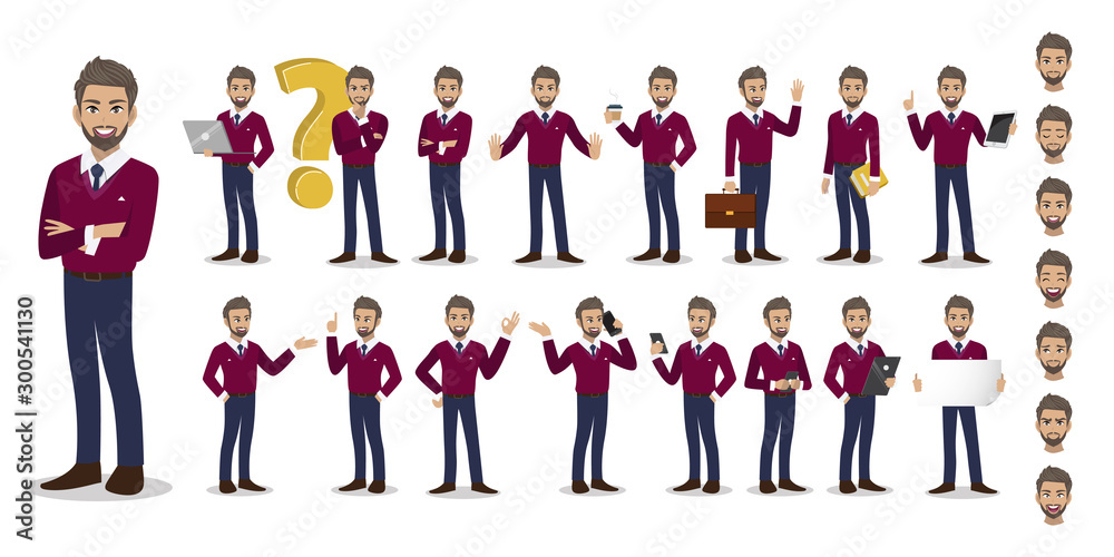 Fototapeta Businessman cartoon character set. Handsome business man in fall casual with purple sweater shirt . Vector illustration