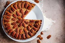 Pecan Pie On White Dish, Gray-...