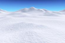 Snow Hills Under Blue Sky