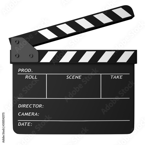 Fotomural Open black clapper board isolated on white