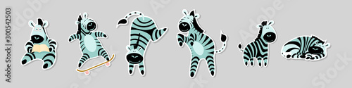 Set of stickers with funny zebras in different situations. Collection of labels with cute cartoon african animals isolated on grey background.