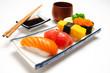 Sushi salmon & tuna sushi shrimp and wasabi on the white plate isolated.selective focus