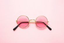 Golden Frame Sunglasses With P...