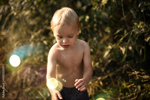 Cute little boy in the countryside