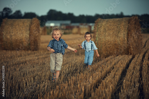 Staande foto Artist KB Portrait of two cute brothers running on the farmland