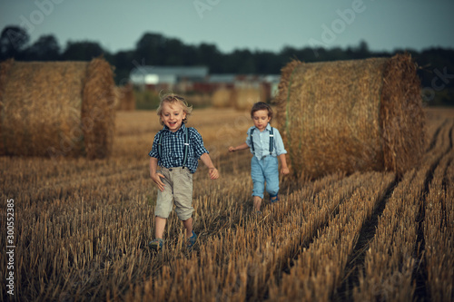Staande foto Artist KB Two adorable brothers having fun in the countryside