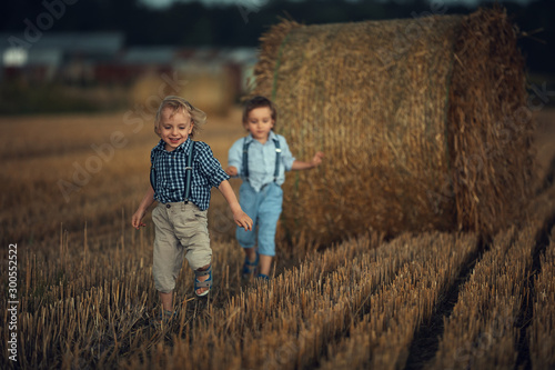 Portrait of two cute brothers running on the farmland