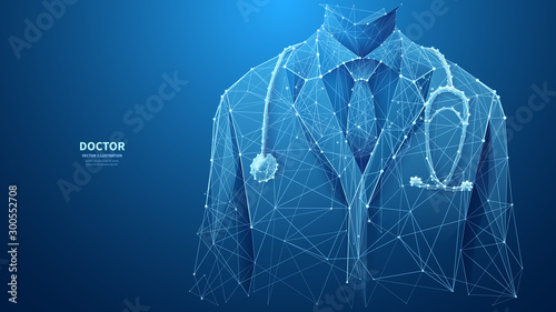 A closeup of a young doctor in medical lab coat with a stethoscope. Abstract vector low poly wireframe illustration with connected dots and polygonal shapes. Horizontal medical banner with copy space.