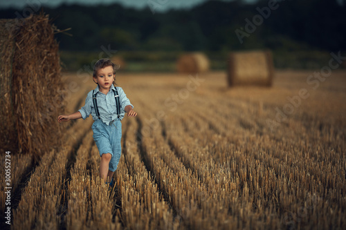 Photo sur Toile Artiste KB Cute little boy walking among the sheafs - countryside shot