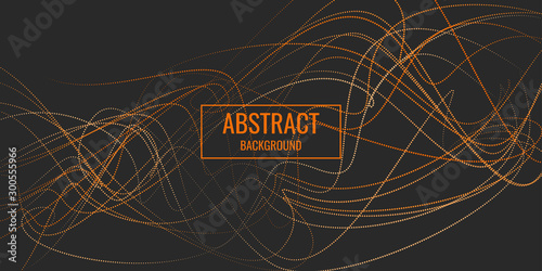 Fotografía  Vector abstract background with dynamic waves, line and particles
