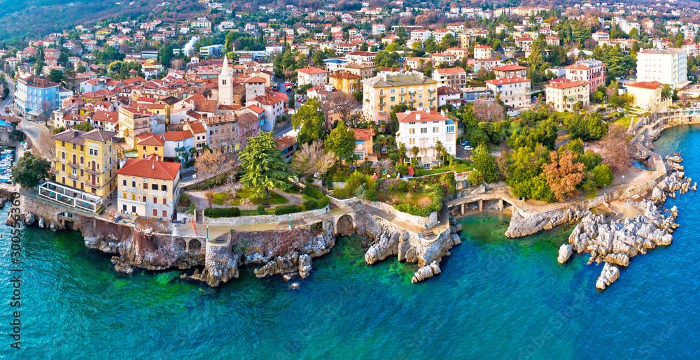 Fototapety, obrazy: Town of Lovran and Lungomare sea walkway aerial panoramic view