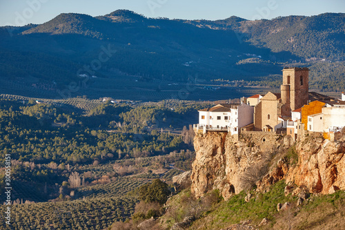 Traditional white houses village and valley in Andalucia. Hornos. Jaen