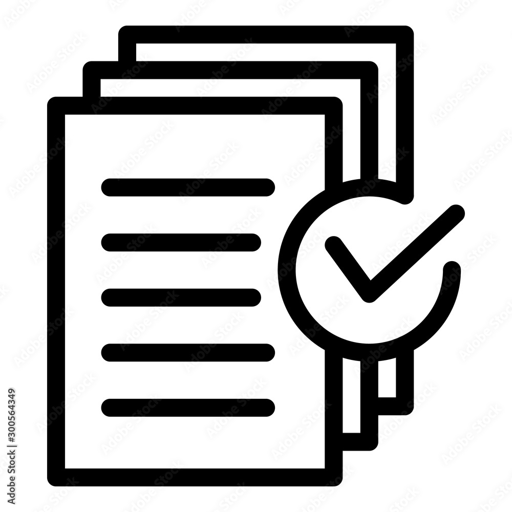 Fototapeta Document approved request icon. Outline document approved request vector icon for web design isolated on white background