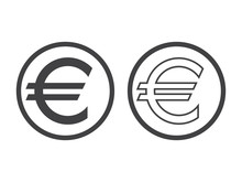 Euro Currency Symbol Isolated On White. European Sign Monetary Unit