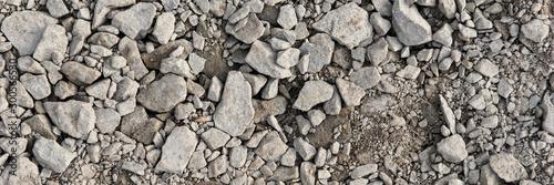 Fototapeta Panoramic image. Gray gravel stones for the underground in road construction obraz