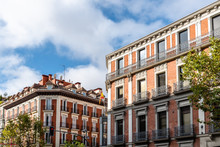 Old Luxury Residential Buildings With Balconies In Serrano Street In Salamanca District In Madrid