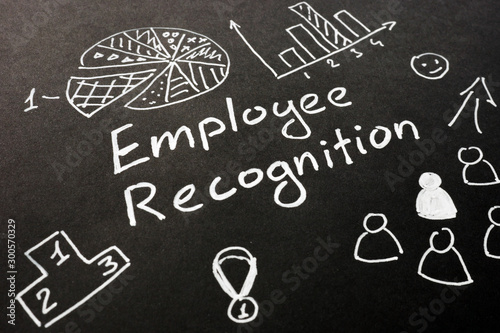 Employee recognition inscription on the black sheet. Wallpaper Mural