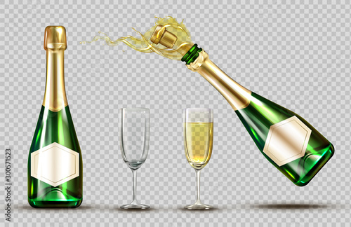 Pinturas sobre lienzo  Champagne explosion bottle and wineglasses set