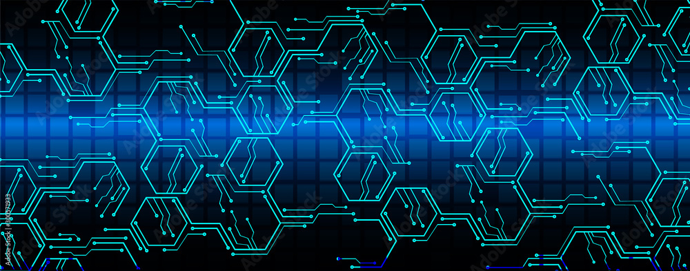 Fototapety, obrazy: Blue cyber circuit future technology concept background