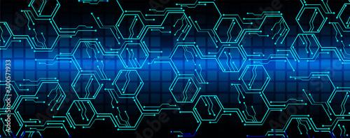 Cuadros en Lienzo  Blue cyber circuit future technology concept background