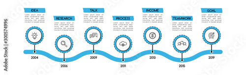 Fototapeta Simple timeline infographic with 7 options. Flowchart. Vector obraz