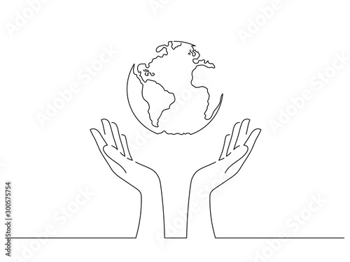Obraz Save the world concept isolated line drawing, vector illustration design. Climate change collection. - fototapety do salonu