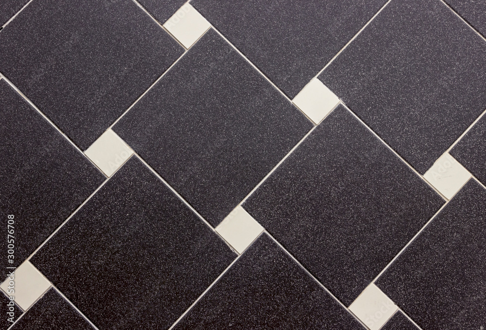 Fototapeta tiled texture, background with black and white square tiles, lines