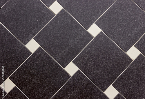 Fototapety, obrazy: tiled texture, background with black and white square tiles, lines