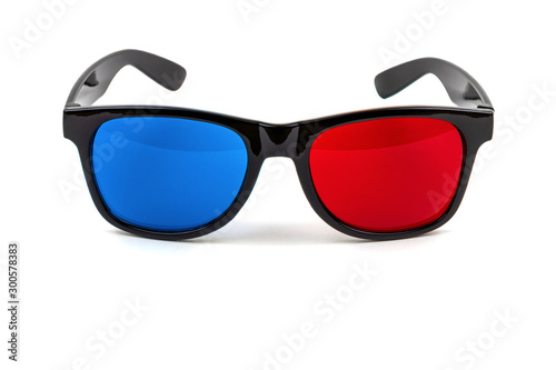3D plastic glasses isolated on white / anaglyph glasses lie on rims with open ea Wallpaper Mural