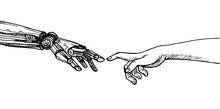 Human Hand Touching A Robot's ...
