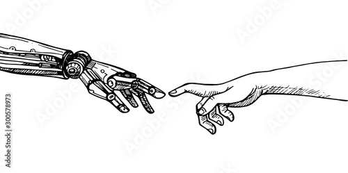 Fotomural  Human hand touching a robot's hand,Robotic And Human Arms Concept