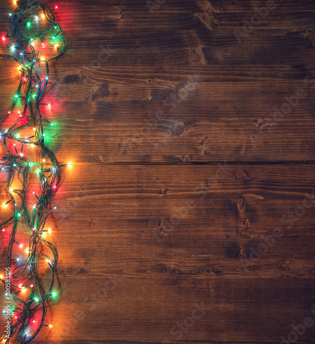 Obraz Empty rustic wooden background with Christmas lights - fototapety do salonu