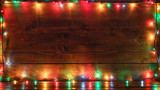 Fototapeta Tulipany - Empty rustic wooden background with Christmas lights