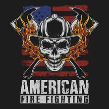 American Fire Fighter Brave Illustration Vector