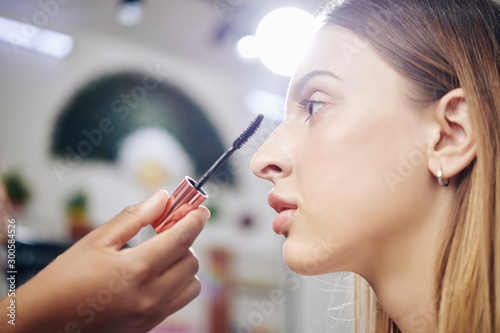 Obraz Professional make-up artist applying lengthening mascara to young gorgeous fashion model - fototapety do salonu