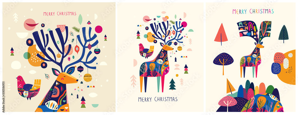Fototapety, obrazy: Christmas decorative illustrations with colorful deer.