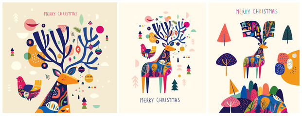 Christmas decorative illustrations with colorful deer.