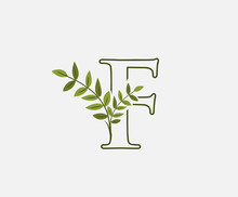 Green Letter F Leaf Icon Logo Design Concept, Floral Logo Icon Design. Hand Drawn Floral With Letter.