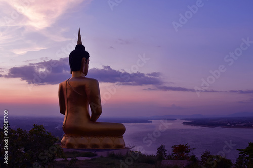 Printed kitchen splashbacks Place of worship The big golden Buddha statue of Phu Salao temple at Pakse, Laos
