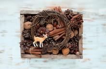 Cute Deer Toy And Cones, Nuts,...