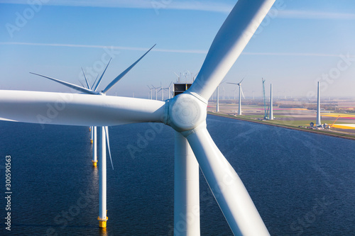 Aerial view of wind turbines at sea, North Holland, Netherlands Canvas Print