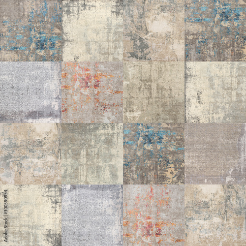 Poster Stenen Colorful patchwork tiles pattern, vintage textile background