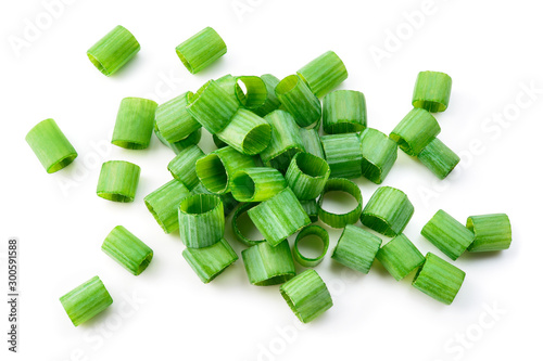 Fototapeta Green onion isolated. Heap of cut chives. Top view. obraz