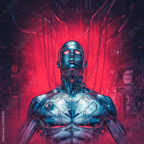 Chrome visions reloaded / 3D illustration of futuristic metallic science fiction Canvas Print