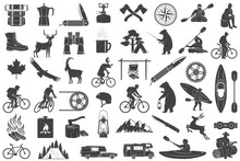 Set Of Hiking And Camping Icon...