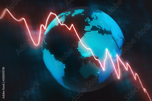 Fototapeta Illustrated concept wth a glowing red line graph decreasing at a fast rate with an abstract globe background obraz