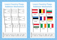 Learn Country Flags. Addition Worksheet. Educational Game. Mathematical Puzzle.