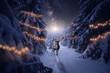 canvas print picture - Ein Hirsch mit Weihnachtsdekoration steht im Winterwald