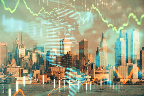 Fotomural  Forex graph on city view with skyscrapers background double exposure